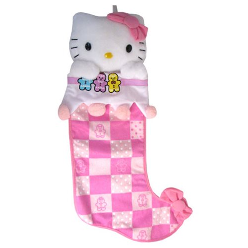 Hello Kitty Plush Head Pink Pattern Christmas Stocking