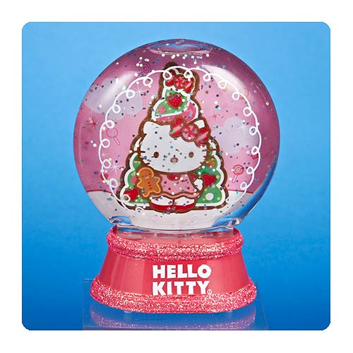Hello Kitty Pink Glitter Base 3 1/2-Inch Snow Globe