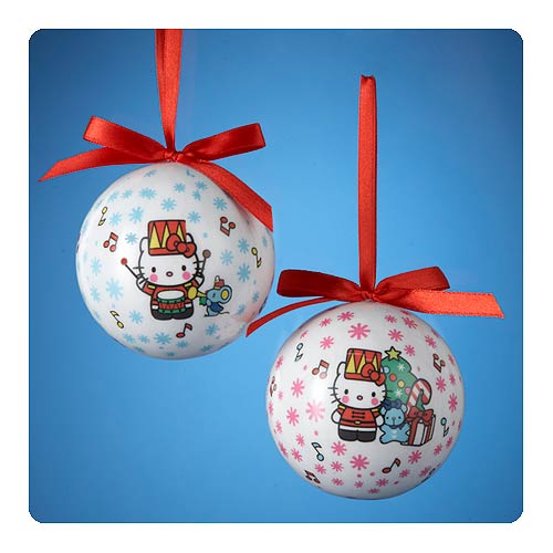 Hello Kitty Red Bow Decoupage Ball Ornament Set