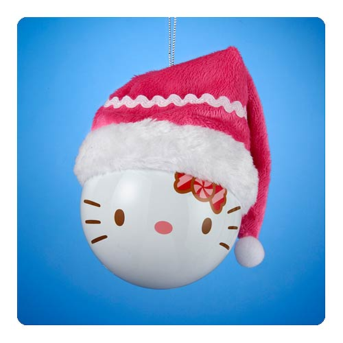 Hello Kitty Shatterproof Santa Claus Hat Ball Ornament