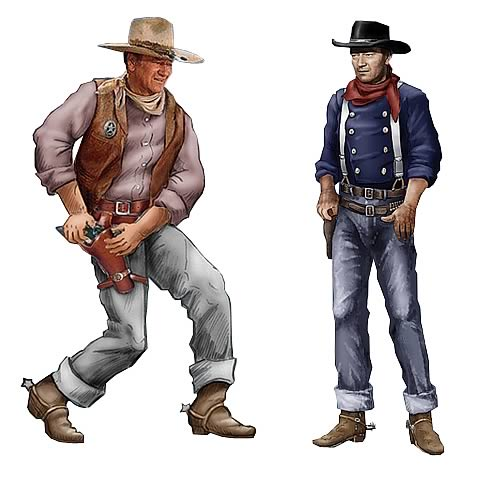John Wayne Western 4 1/2-Inch Resin Ornaments