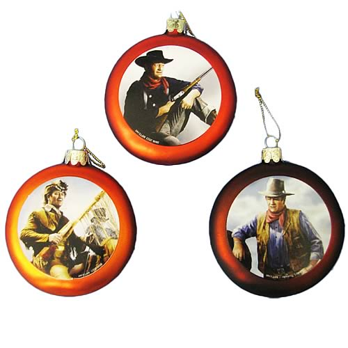 John Wayne Flat Disc 3 1/2-Inch Glass Ornaments