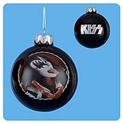 KISS Gene Simmons Demon and Logo Black Ball Ornament