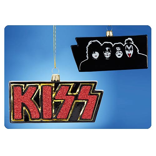 KISS Logo with Band Glass 4-Inch Ornament