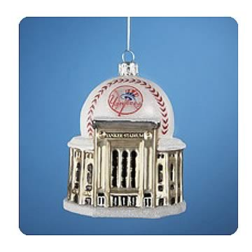MLB Yankees Logo New Yankee Stadium with Ball Ornament