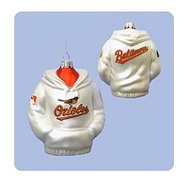 MLB Orioles 4 1/2-Inch Hoodie Sweatshirt Glass Ornament