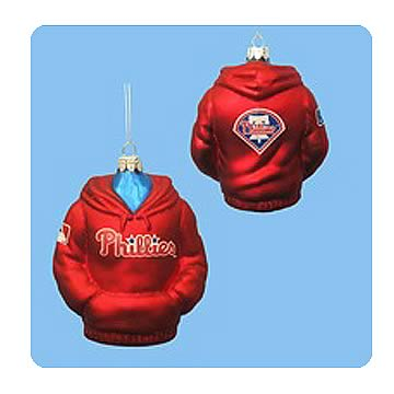 MLB Phillies 4 1/2-Inch Hoodie Sweatshirt Glass Ornament