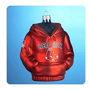 MLB Red Sox 4 1/2-Inch Hoodie Sweatshirt Glass Ornament