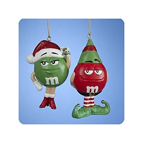 M & Ms Green with Mistletoe and Red as Elf Ornament Set