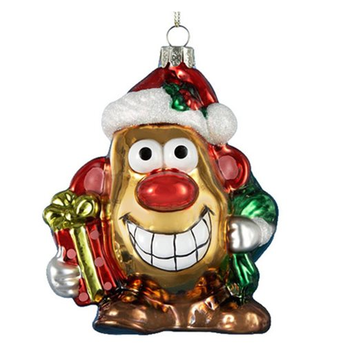 Mr. Potato Head Gold Glass Christmas Ornament