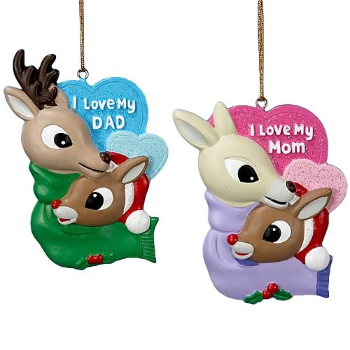 Rudolph the Red Nosed Reindeer Mom and Dad Ornament