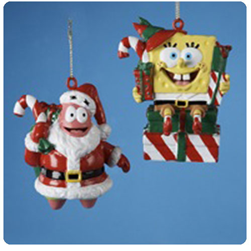 SpongeBob SquarePants Santa and Elf Christmas Ornaments