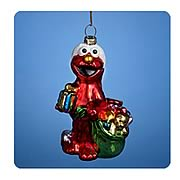 Sesame Street 5-Inch Elmo with Presents Glass Ornament