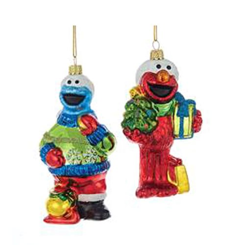 Sesame Street 4 3/4-Inch Glass Ornament Set