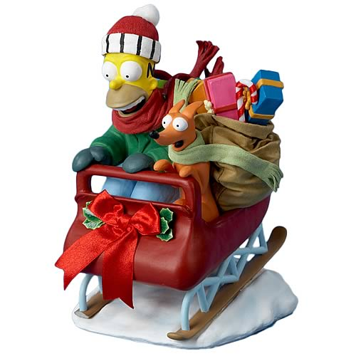 Simpsons Homer Simpson with Gifts 7-Inch Fabric Mache Statue