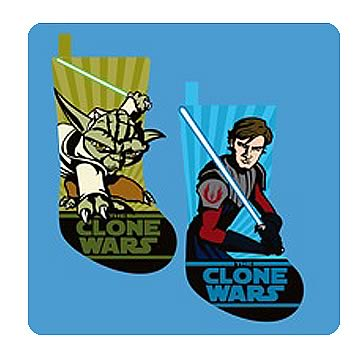 Star Wars Clone Wars Anakin and Yoda Applique Stockings