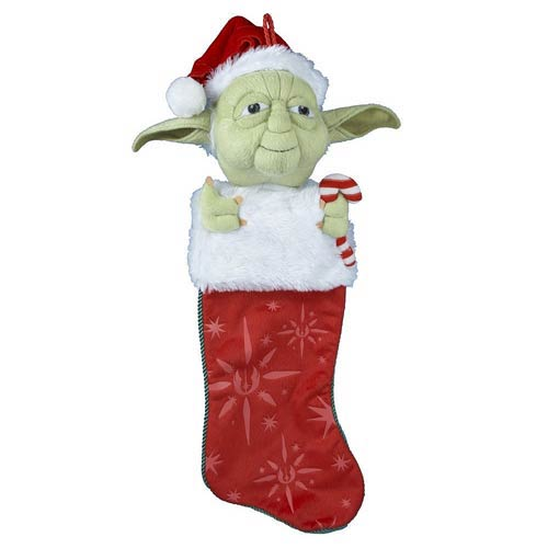 Star Wars Yoda with Candy Cane Plush Stocking