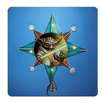 Star Wars Clone Wars Gold Yoda Star Lighted Tree Topper
