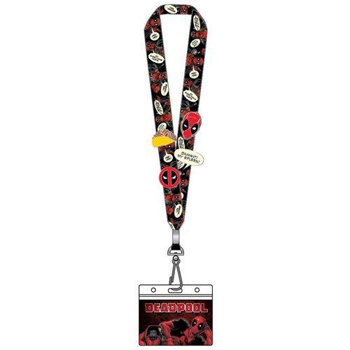 Deadpool Lanyard with 4 Enamel Pins Set