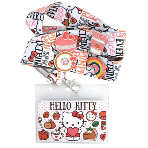 Hello Kitty Pumpkin Spice Lanyard with 4-Enamel Pins Set