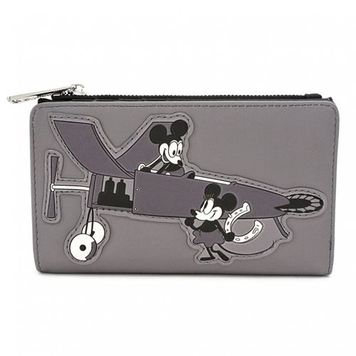 Mickey Mouse Black and White Print Flap Wallet