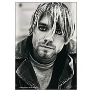 Kurt Cobain Dark Eyes Black and White Fabric Poster