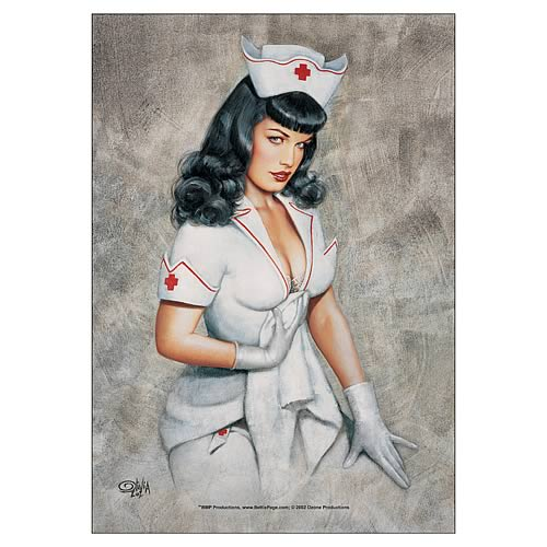 Bettie Page Nurse Bettie Fabric Poster Wall Hanging