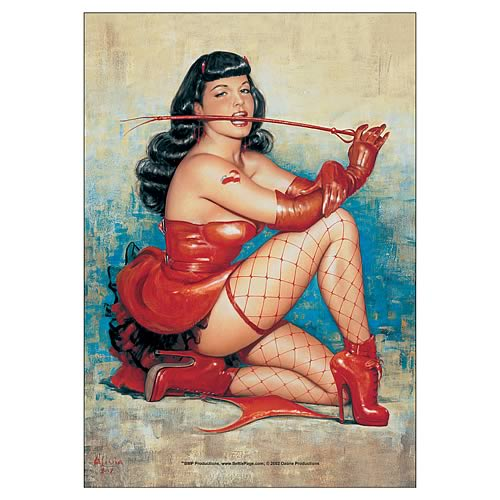 Bettie Page Red Devil Fabric Poster Wall Hanging