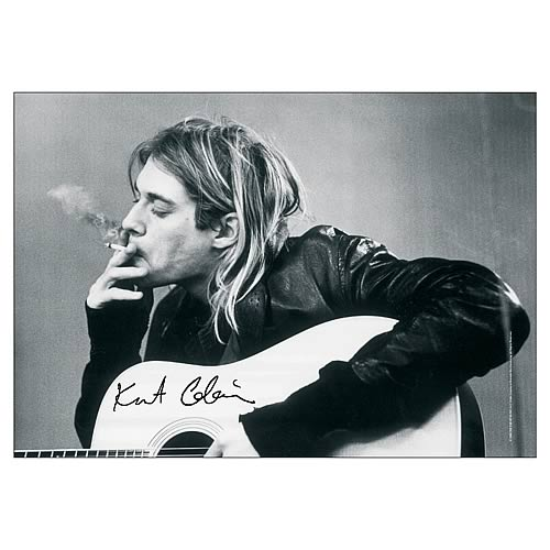 Kurt Cobain Guitar Black and White Fabric Poster