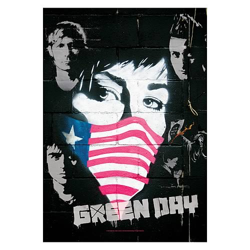 Green Day Collage Fabric Poster Wall Hanging