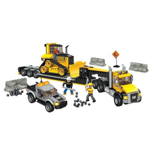 Mega Bloks Caterpillar Heavy-Duty Transporter Vehicle Set
