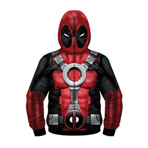 Deadpool Sublimated Costume Fleece Zip-Up Hoodie