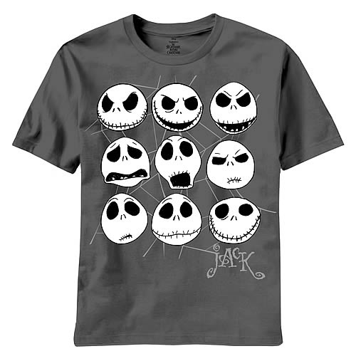 Nightmare Before Christmas Jacked Faces Black T-Shirt