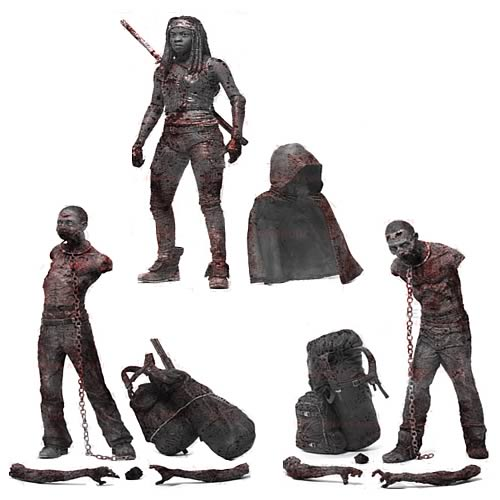 Walking Dead TV Bloody Black-and-White Michonne and Zombies