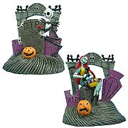 Statues > Nightmare Before Christmas - Celebrate Christmas and Halloween... any time of the year!    Deluxe resin bookends featuring Jack Skellington and Sally from  The Nightmare Before Christmas.     Fully painted and highly detailed!       The Nightmare Before Christmas Jack Skellington and Sally Resin Bookends will enable you to accessorize your office in true  NBX  style! Great for books, movies, or music, this set of deluxe bookends portrays a graveyard gate scene with Sally and cat on one side, and Jack hiding behind a tombstone on the other. Each fully painted and highly detailed piece measures approximately 5 1/2-inches tall x 4 3/4-inches wide x 3 1/2-inches long. With these, you can celebrate Christmas and Halloween any time of the year!: Sizes