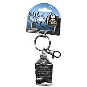 Key Chains > Nightmare Before Christmas - Celebrate Christmas and Halloween...any time of year! Stunning pewter key chain featuring Jack Skellington from  The Nightmare Before Christmas . Take Jack with you anywhere! Nightmare Before Christmas Jack Skellington Logo Tombstone Pewter Key Chain. This stunning pewter key chain features the one and only Jack Skellington, creeping from behind a tombstone! Give your keys some nightmarish style - order yours today!: Sizes