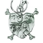 Nightmare Before Christmas Jack and Sally Pewter Key Chain