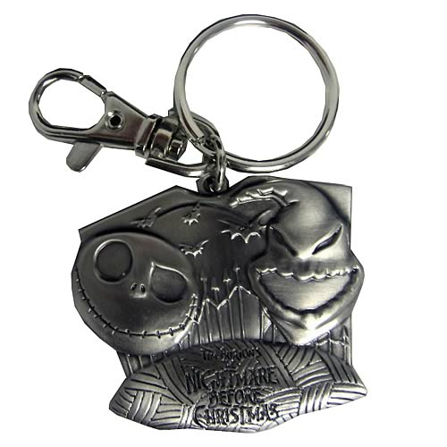NBX Jack Skellington and Oogie Boogie Heads Pewter Key Chain