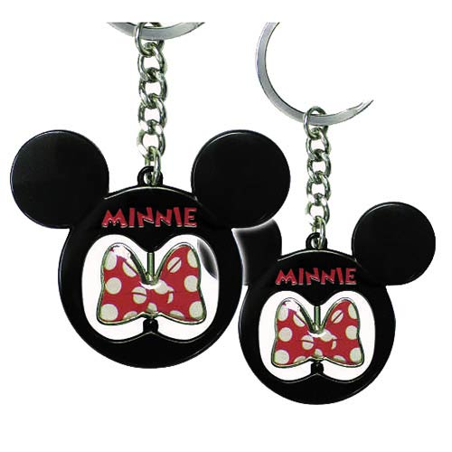 Minnie Mouse Icon Bow Spinner Pewter Key Chain