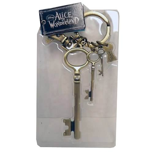 Alice in Wonderland Round Hall Brass Key Chain with Charms