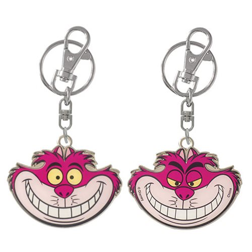 Alice in Wonderland Cheshire Cat 2-Sided Pewter Key Chain