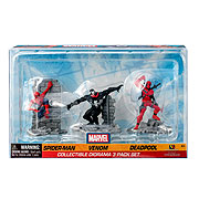 Marvel Spider-Man, Venom, and Deadpool Diorama 3-Pack