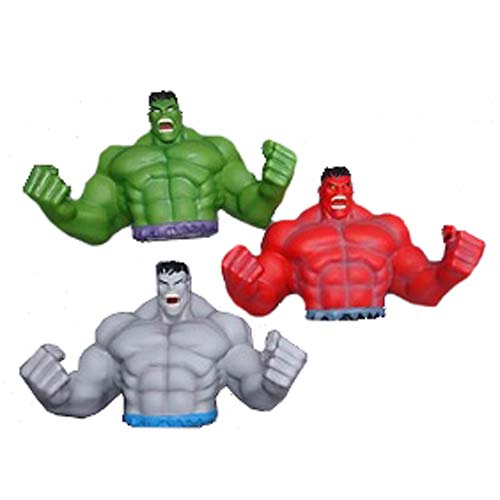 Hulk Green, Red, and Grey Bust Bank PIECE