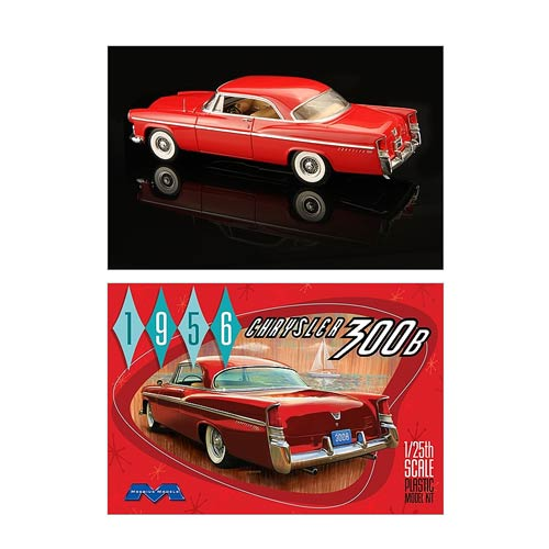 The first true muscle car - the 1956 Chrysler 300B - as an amazing model kit! Measures 1:25 scale. Requires paint and glue, not included. The winningest stock car in 1956 makes its glorious return with this 1956 Chrysler 300B Model Kit! Very few 1956 Chrysler 300Bs exist today, but they were a powerful vehicle to be reckoned with back then. Hemi-powered with over 300 horsepower, these were the first true muscle cars! Updated tooling and measuring 1:25 scale, the 1956 Chrysler 300 B Model Kit requires paint and glue, not included. For ages 15 years and up.