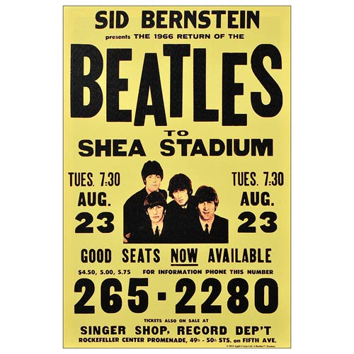 The Beatles Shea Stadium 1966 Poster Medium Canvas Print