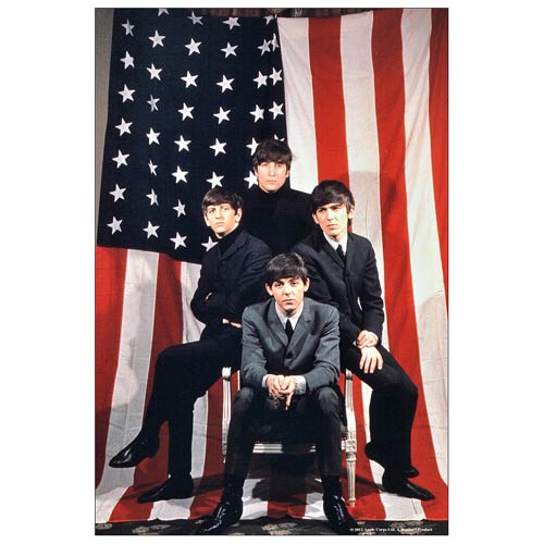 The Beatles American Flag 1964 Tour Ad Large Canvas Print