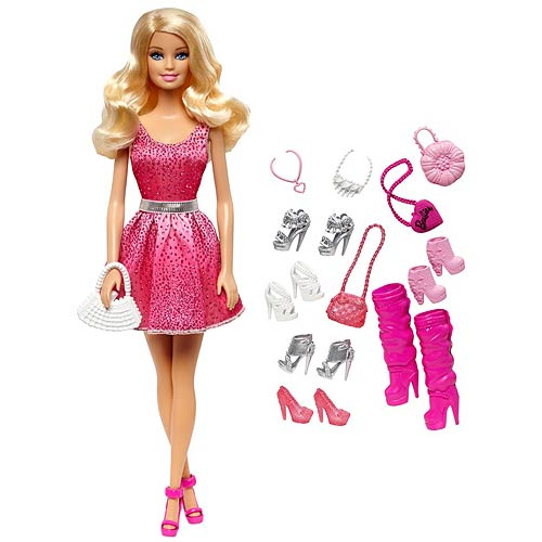 Barbie Caucasian Doll and Shoes Accessories Pack