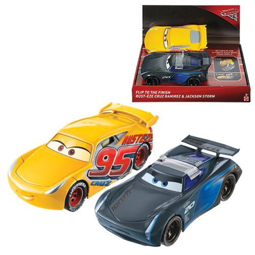 cars 3 cruz ramirez and jackson storm vehicle set mattel cars vehicles at entertainment earth. Black Bedroom Furniture Sets. Home Design Ideas