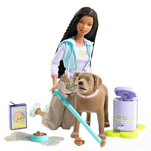 Barbie Doll (African American) and Tanner Scooper Dog Set