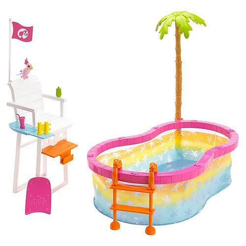 Barbie Beach Party Pool Playset Mattel Barbie Dolls At Entertainment Earth Item Archive